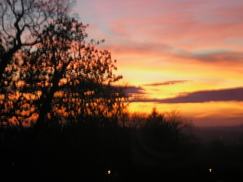 Sunset over the village.