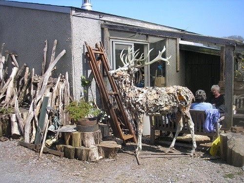 Just round the corner of the studio was a large, lifesize Red Deer stag.