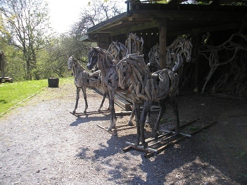 Opposite the stag was the store full of driftwood with a few foals in front.