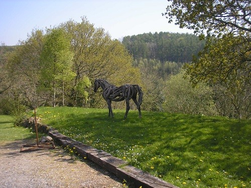 A very realistic horse in the beautiful Devon countryside.
