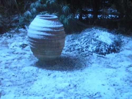 Urn in gravel area