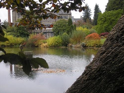 Lake with boathouse.