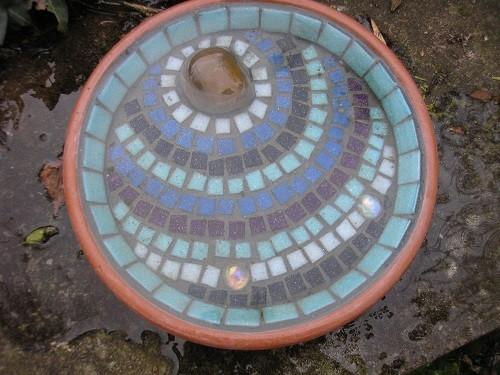 Mosaic bird bath.
